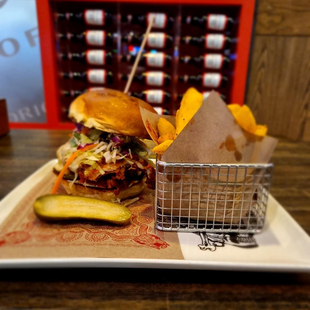 Guy Fieri's Kitchen & Bar, award-winning bacon, mac and cheese burger